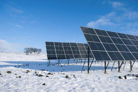 Photo pour Panneaux solaires le matin ensoleillé d'hiver sur un champ enneigé en Ukraine. - image libre de droit