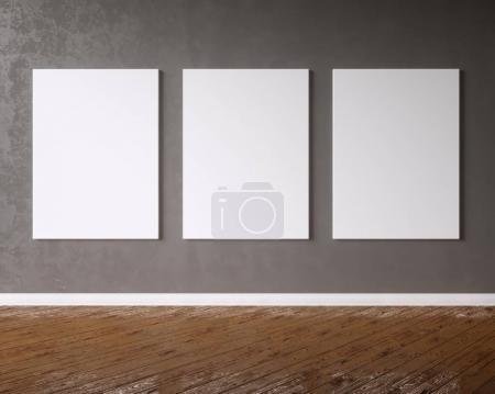 Photo pour Toile suspendue sous des ampoules décoratives vintage. Studio d'illustration 3D, modèle, sous, vers le haut, vintage, mur, blanc, bois - image libre de droit
