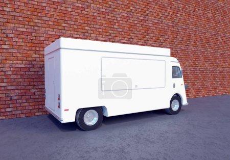 Photo pour Illustration 3D de sweet camion alimentaire, modèle, transport, transport, transport, camion, camions, up, van, véhicule, vintage, blanc - image libre de droit