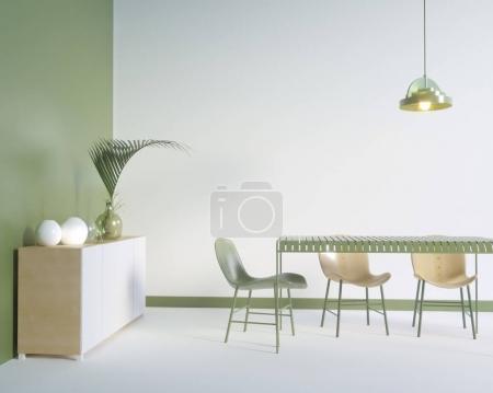 Photo pour Affiche sur le placard avec ustensiles, minimalisme, intérieur, fond, rendu 3D, studio d'illustrations, style, gabarit, les montagnes, arbre, haut, blanc, jaune - image libre de droit