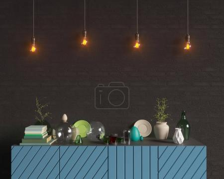 Photo for Layout poster with chair and hippest fabric minimalism interior background, 3D rendering, - Royalty Free Image