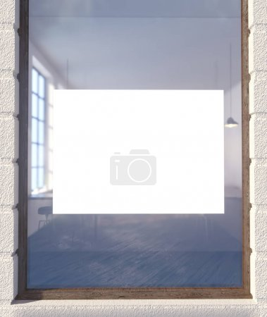 Photo for 3d illustration of poster on window restaurant,  retail,  scene,  shop,  shop front,  showcase,  sign,  space,  store,  street,  up,  view,  wall,  white,  window - Royalty Free Image