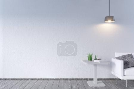 moderne Einrichtung mit Couchtisch und Sofa. Wandattrappe auf. 3D-Illustration. Retro, Zimmer, skandinavisch, einfach, Sofa, Raum