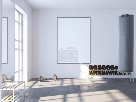 Photo pour Mock up scene, 3d illustration , sport, gym, fitness, locker room  template,  tile,  towel,  trainer,  up,  view,  wall,  white  perspective,  picture, - image libre de droit