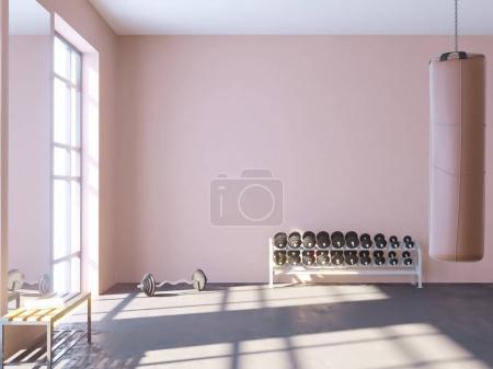 Photo pour Maquette scène, illustration 3d, sport, gym, fitness, espace vestiaire, sport, modèle, serviette, formateur, vers le haut, vue, mur, blanc - image libre de droit