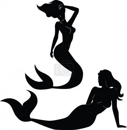 Photo for Collection of mermaid silhouettes vector - Royalty Free Image