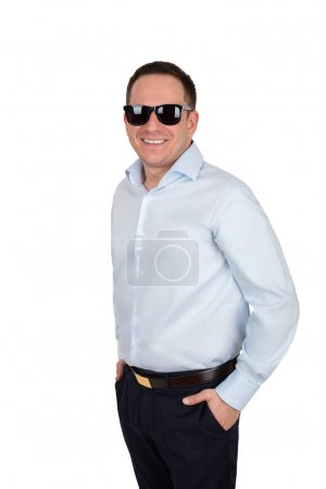 businessman with a cheerful white teeth smile