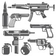 Gun and weapon icons set on white background...