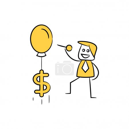Illustration for Businessman using pinto deflate dollar balloon economy , financial concept - Royalty Free Image