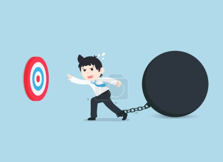 Illustration for SD Business Man Stuck with problems and obstacles, therefore unable to achieve the goal. There are many obstacles that prevent us from reaching our goal. - Royalty Free Image