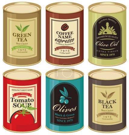Illustration for Set Vector illustration of a tin can with label of olives, tea, coffee and tomato soup - Royalty Free Image