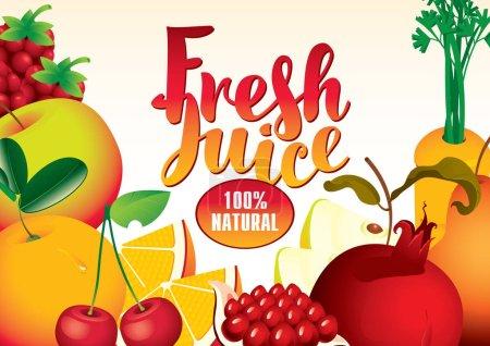 Illustration pour Bannière vectorielle avec différents fruits et baies, et inscription de jus frais - image libre de droit