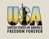 letters USA with the image of Statue of Liberty