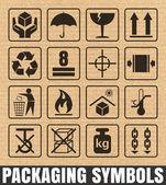 Packaging symbols on cardboard