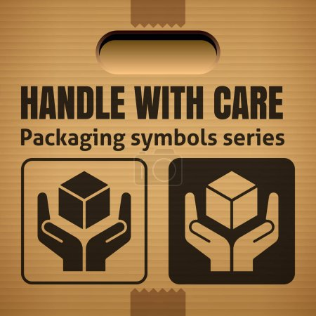 Illustration for Vector illustration design of HANDLE WITH CARE packaging symbol on corrugated cardboard box - Royalty Free Image