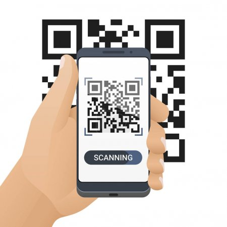 Smartphone in man's hand scans QR code. Barcode scanner application on smart phone screen. Vector illustration