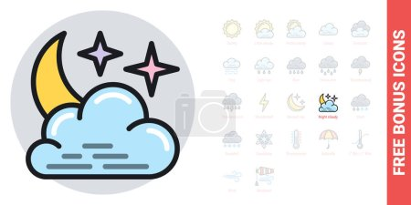 Night cloudy icon for weather forecast application...