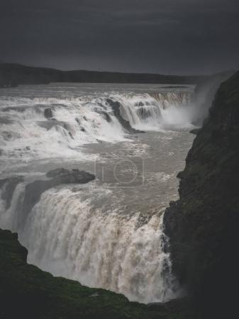 Photo for Landscape with big majestic Gullfoss waterfall in mountains, Iceland - Royalty Free Image