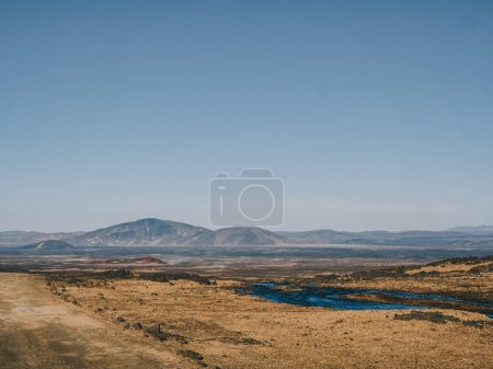 Photo for Scenic landscape with river and mountains in Iceland - Royalty Free Image