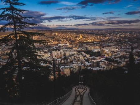 Photo for Aerial view of city in Georgia and sky at sunset - Royalty Free Image