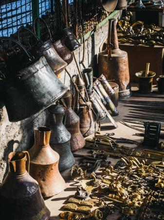 Photo for Close up view of arranged old fashioned things on street market - Royalty Free Image