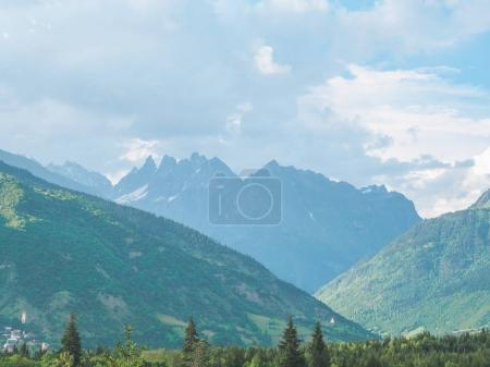 Photo for Beautiful scenic landscape with majestic mountains and green vegetation in Georgia - Royalty Free Image