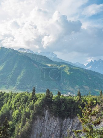 Photo for Majestic landscape with beautiful scenic mountains and green trees in Georgia - Royalty Free Image