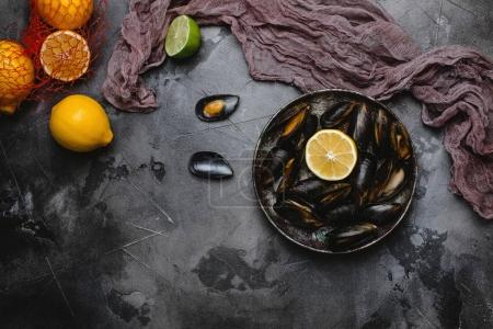 top view of gourmet mussels with shells on vintage plate and citrus fruits on grey