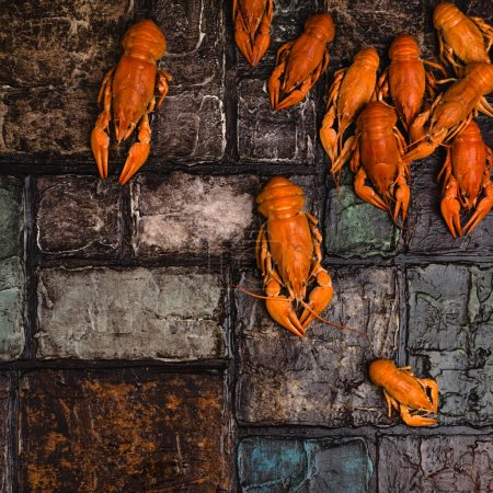 top view of gourmet lobsters on brick wall surface