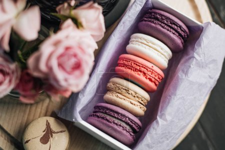 Photo for Sweet colorful Macarons in box on table - Royalty Free Image