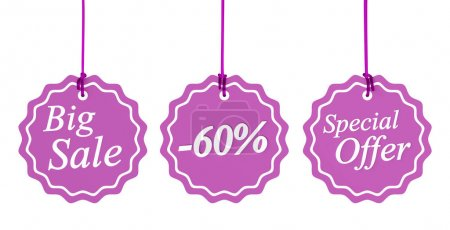 Set of sale tags isolated on white. 3d image