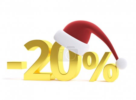 Golden 20% discount with santa hat. 3d image