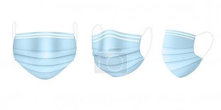 Illustration pour Masque médical bleu en trois projections. Protection contre les virus. Vecteur EPS10 - image libre de droit