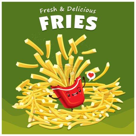 Illustration pour Frites vintage affiche design avec vecteur frites caractère . - image libre de droit
