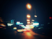Blurred of car on the road at night