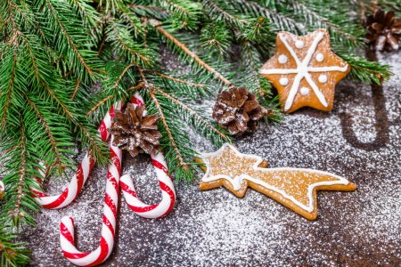 Photo for Christmas ginger cookies black background, horizontal, new Year - Royalty Free Image