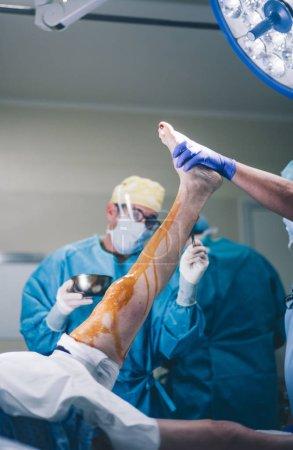 Doctors prepare knee knee operation