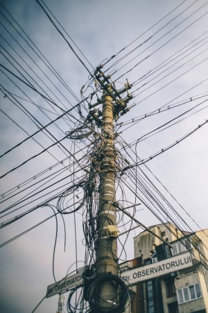 Electrical wiring in the city.