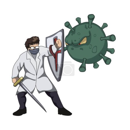 Design of doctor fighting with a covid-19 virus...