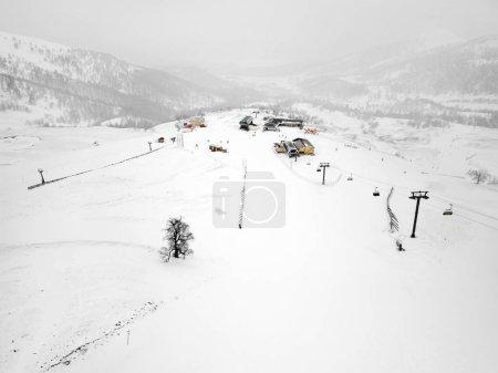 Caucasus mountains Georgia ski resort in Bakuriani. Mountain view
