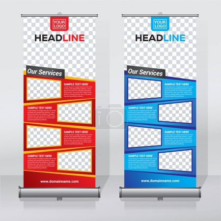 Illustration for Roll up banner design template, abstract background, pull up design, modern x-banner, rectangle size. - Royalty Free Image