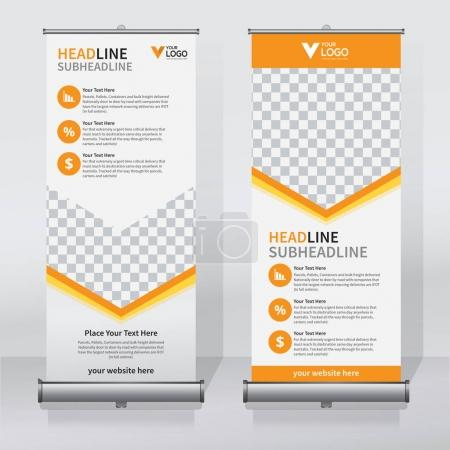 Roll up banner design template, vertical, abstract...