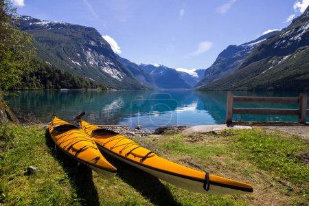 Kayaks on Lovatnet Lake in Norway