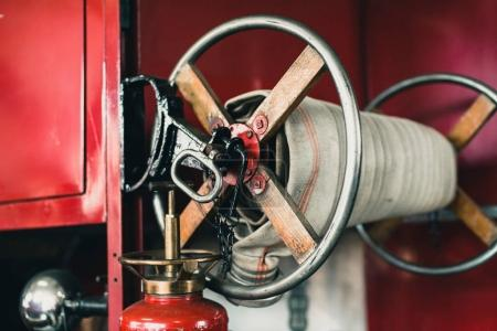Close-up of coiled fire hose