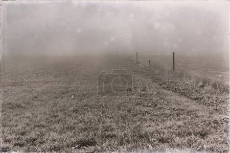 Photo for Old black and white photo of farmland with fence in mist - Royalty Free Image