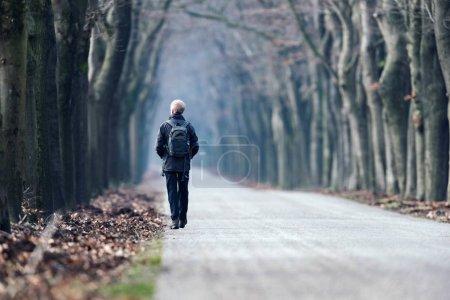 Photo pour Homme avec sac à dos randonnée sur route forestière en hiver. Vue arrière - image libre de droit