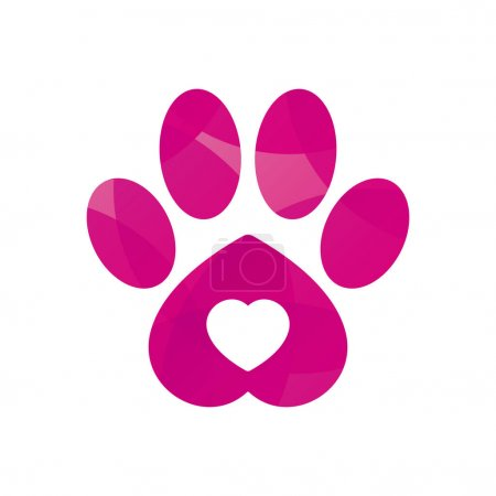 Vector colored dog or cat footprint with heart. Is...