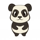 Cute panda bear character in cartoon style isolated on white background Panda with big expressive eyes Flat design vector illustrator Bearcat stand front view Lovely muzzle design for children