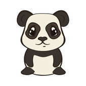 Cute panda bear character in cartoon style isolated on white background Panda with big expressive eyes Flat design vector illustrator Bearcat sits front view Lovely muzzle design for children