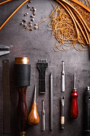 professional tools for working with leather